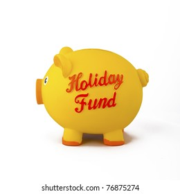 Yellow piggy bank vacation/holiday savings, isolated on white.