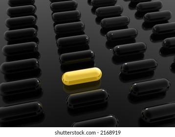 yellow pill among black pills on black background