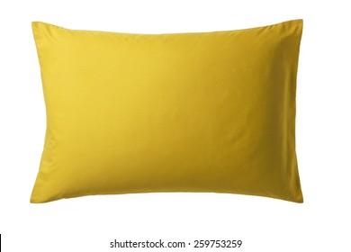 Gelbes Kissen einzeln auf weißem Hintergrund. Draufsicht eines weichen bunten Kissen mit Kopienraum für Tex oder Bild