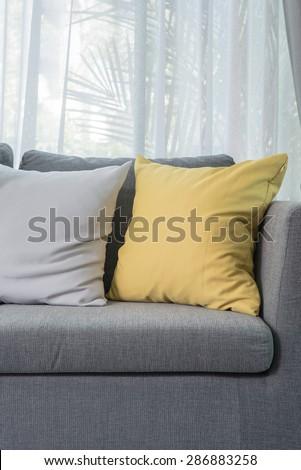 Yellow Pillow On Grey Sofa Modern Stock Photo Edit Now 286883258