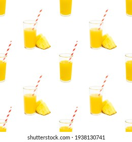 Yellow pineapple juice in a glass with slices repeat seamless pattern on white background
