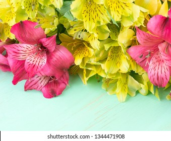 Yellow and pink Alstroemeria on green wooden background