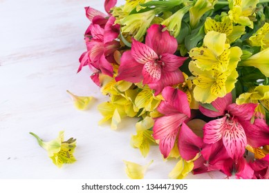 Yellow and pink Alstroemeria on white wooden background