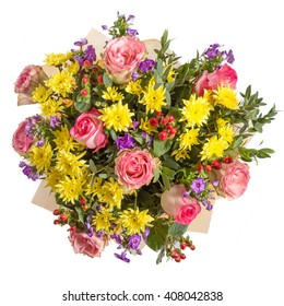 Yellow and pink flowers bouquet isolated on white