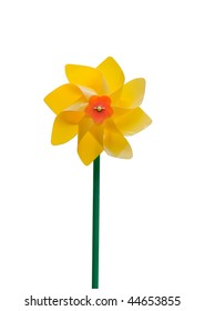 Yellow pinwheel isolated on white background, clipping path included