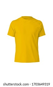 Yellow plain shortsleeve cotton T-Shirt isolated on a white background. Stylish round collar shirt. Ghost mannequin photography