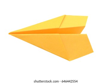 A yellow plane paper isolated