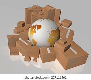 yellow planet earth and boxes around it - international delivery - transportation