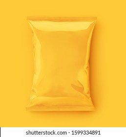 Yellow plastic bag snack packaging in yellow background
