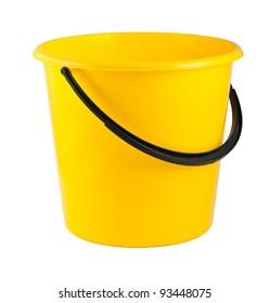 Yellow plastic bucket isolated on white background