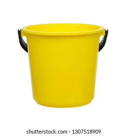Yellow plastic bucket on white background