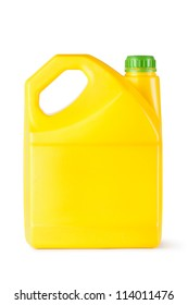 Yellow plastic canister for household chemicals. Isolated on a white.