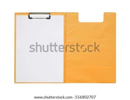 yellow plastic clipboard cover blank paper stock photo edit now