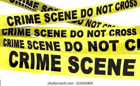 Yellow Plastic Crime Scene Do Not Cross Tape Isolated On White Background.