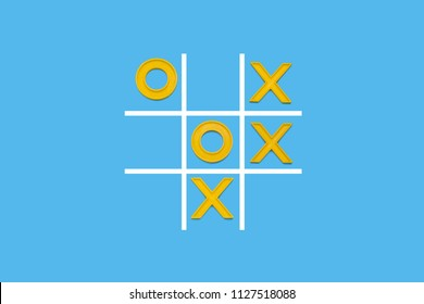 Yellow plastic crosses and a toe and a ruled field for playing tic-tac-toe on a blue background. Concept XO Win Challenge. Developmental game for children. Flat lay, top view.