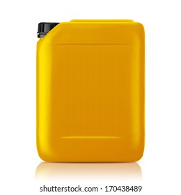 Yellow plastic gallon, jerry can  isolated on a white background.  (with clipping work path)