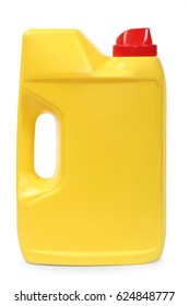 Yellow plastic gallon, jerry can isolated on a white background