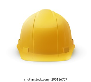 Yellow plastic hard hat helmet icon isolated on a white background. To represent safety or construction.