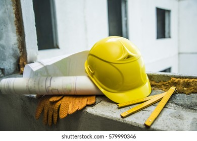 Helmet with an inscription images stock photos vectors shutterstock yellow plastic helmet for workers security folding ruler paper plan blueprint and gloves malvernweather Images