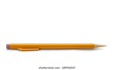 Yellow Plastic Mechanical Pencil Isolated on White Background.