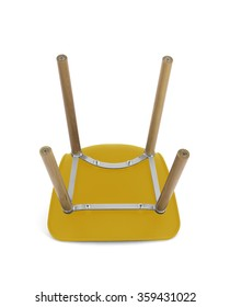 Yellow Plastic Modern Chair with Wood Legs, Bottom View