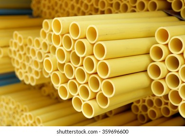 Yellow plastic pipes