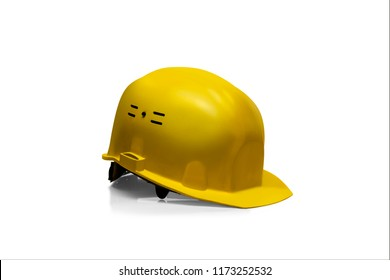 Yellow Plastic safety helmet isolated on white background