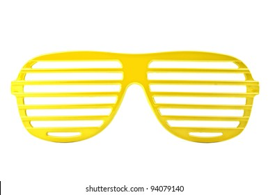 yellow plastic shutter shades sunglasses isolated on white background