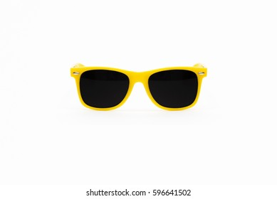 Yellow Plastic Sunglasses Isolated on White Background
