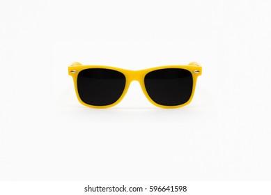 Yellow Plastic Sunglasses Isolated on White Background