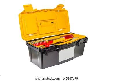 The yellow, plastic tool box. Isolated.