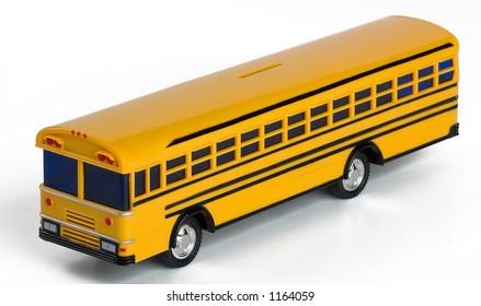 Yellow plastic toy school bus bank.