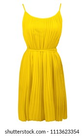 Yellow pleated dress, isolated on white