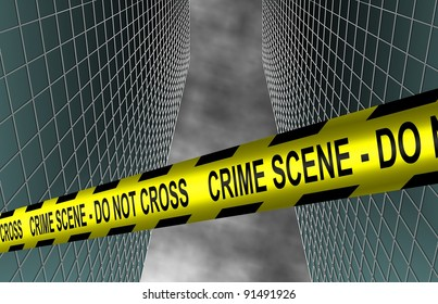A yellow police tape spelling crime scene do not cross spread between two buildings / City crime scene