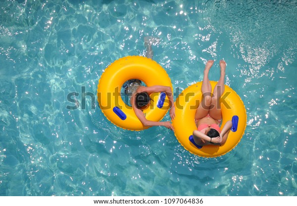 Yellow Pool Floats Fleshing Blue Swimming Stock Photo (Edit ...
