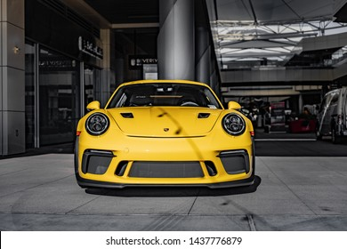 Yellow Porsche 911 GT2RS Parked in an outdoor shopping mall in Las Vegas, Nevada / USA - June 26th, 2019