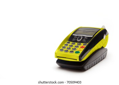 Yellow Portable Credit Card Terminal on Base