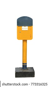 yellow post box isolated on white background, this has clipping path.