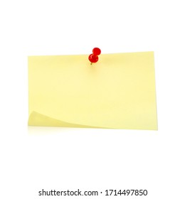 Yellow Post note paper sheet  with pin on white background.
