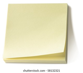 yellow post it note sticky memo pad on a white background