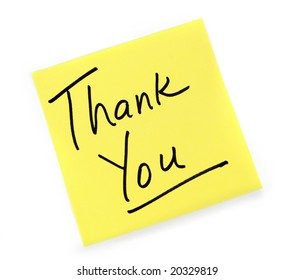 Yellow Post-it note with Thank You message.