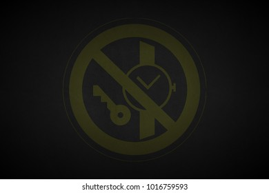 yellow prohibition stop symbol sign painted on black leather texture background