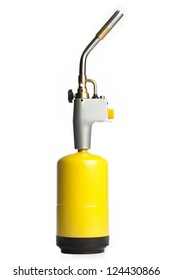 A yellow propane torch isolated on a white background