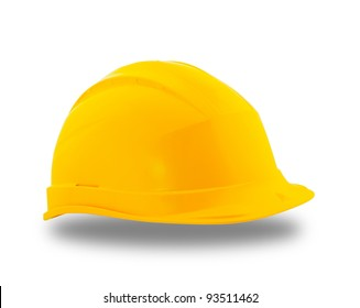 Yellow protective construction helmet  over white background
