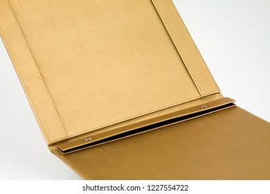 Yellow PU Leather (Polyurethane) Menu Folder