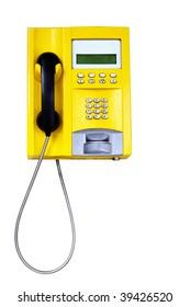 Yellow public telephone isolated over white background