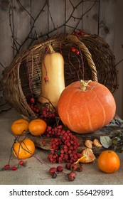 Yellow pumpkin is on the table and branch with Rowan berries and tangerines