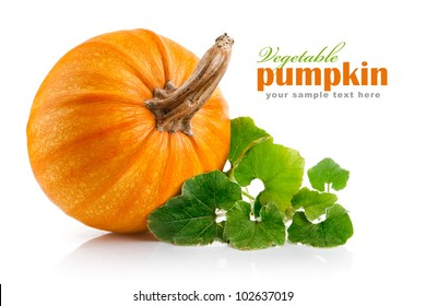yellow pumpkin vegetable with green leaves isolated on white background