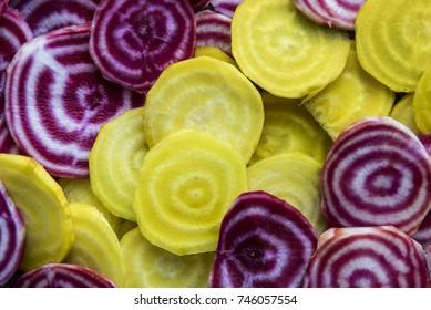 Yellow & Purple Beetroot Slices