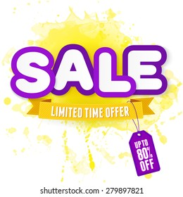Yellow and purple label Sale. illustration for advertising.